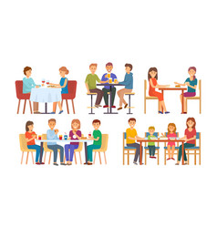 people eating and drinking together set vector image