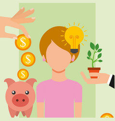 people saving money vector image