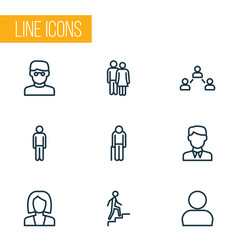 person icons line style set with contact clever vector image