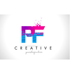 Pf p f letter logo with shattered broken blue vector