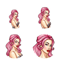 pop art avatar icon of pin up sexy girl vector image