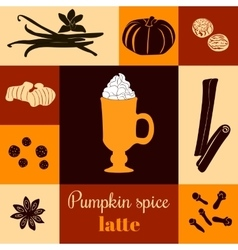 Pumpkin spice latte on colored background vector