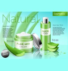 realistic aloe vera cosmetics products bottle vector image