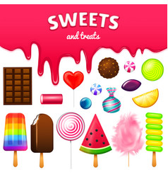 Realistic sweet candies swirl caramel assorted vector