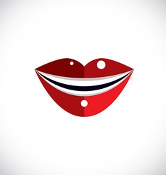 Red human lips parts of woman face Graphic vector image