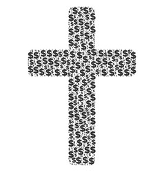 Religious cross collage of dollar and dots vector
