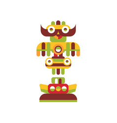 Religious totem pole colorful native cultural vector