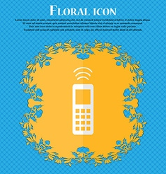 remote control Floral flat design on a blue vector image