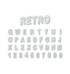 retro style 3d font clipart letters and digits vector image