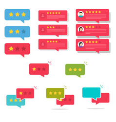 review rating bubble speeches set vector image