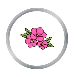 Rose of sharon icon in cartoon style isolated on vector