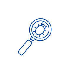 Searching bug line icon concept searching bug vector