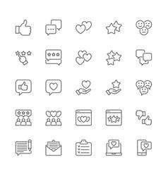 set feedback line icons thumb up like vector image