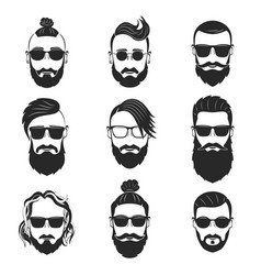 Set of 9 hipsters bearded men with different vector