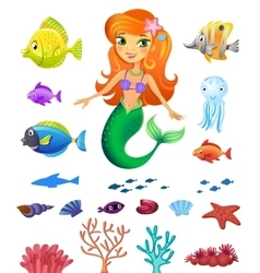 Set of sea inhabitants vector image