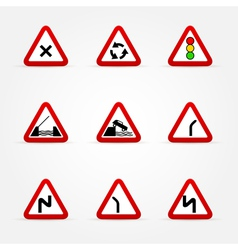 set of traffic signs warnings vector image
