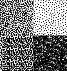 set retro seamless pattern in black and white vector image