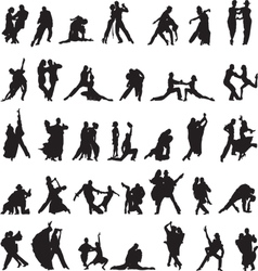 Set silhouettes couples dancing tango vector