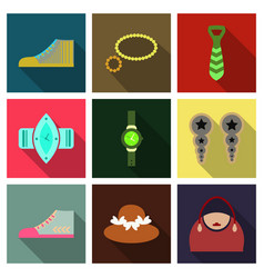 Set with icons on theme of shopping and clothes vector