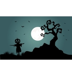 Silhouette of halloween scarecrow bat tree vector