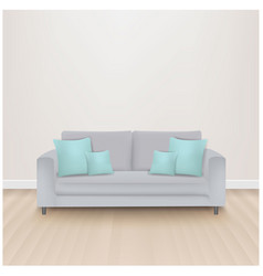 Sofa bed with mint pillows vector