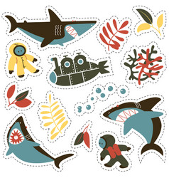Sticker set with angry sharks cute divers and vector