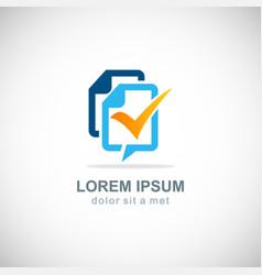 talk bubble data information check mark logo vector image