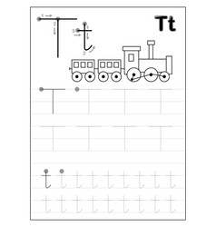 Tracing alphabet letter t black and white vector