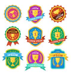 trophy cup goblet emblems achievement awards vector image