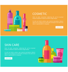 Two cosmetic skin care cards vector