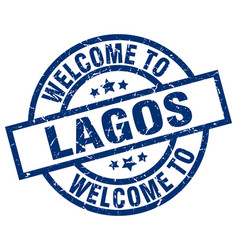 Welcome to lagos blue stamp vector