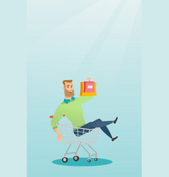 Young caucasian man riding in shopping trolley vector