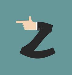 Z letter businessman hand font it shows finger vector