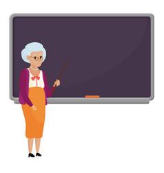 cartoon old female teacher standing in front of vector image