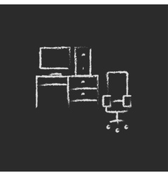 Computer set with table and chair icon drawn in vector image