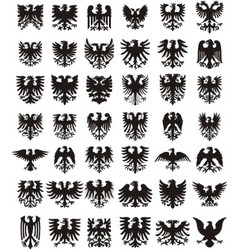 Heraldic eagles silhouettes set vector image vector image