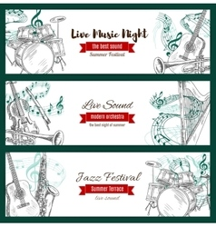 Musical instruments sketch jazz music banners vector
