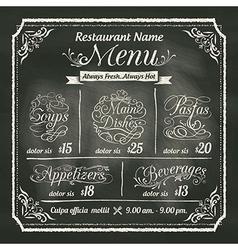 Restaurant food menu design chalkboard background vector