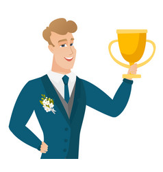 young caucasian groom holding a trophy vector image vector image