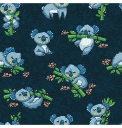 Adorable seamless pattern with cute koalas in vector