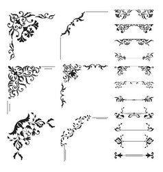 Floral corner and divider collection vector
