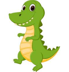 happy crocodile cartoon vector image vector image