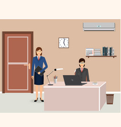 office room interior with two women employees vector image vector image