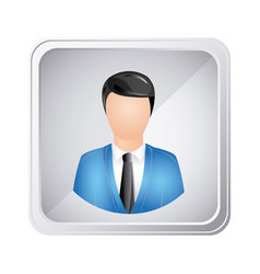 silver emblem technical support man assistant vector image