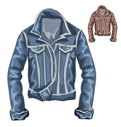 Stylish denim thick jacket with long sleeves vector image vector image