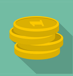 concept coin icon flat style vector image vector image