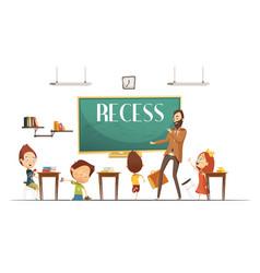 primary school recess break cartoon vector image