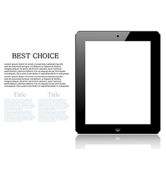 realistic computer tablet isolated on white vector image vector image