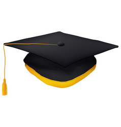 Black graduation cap with gold tassel isolated vector