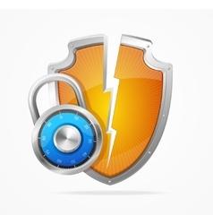 Hacker Attack Shield and Lock vector image